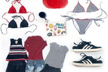 Mit den Basisfarben navy, rot und weiß kann man verschiedenste Styles mixen und immer gut dabei aussehen.