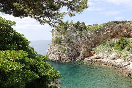 Selbst rund um die Stadt Dubrovnik ist das Meer in den unzähligen Buchten klar und intensiv türkisfarben.