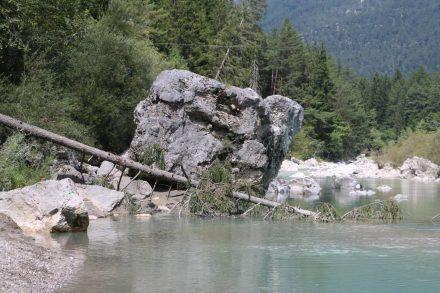 Die riesigen Steine sind durch Felsstürze vom Dobratsch in der Gail gelandet.