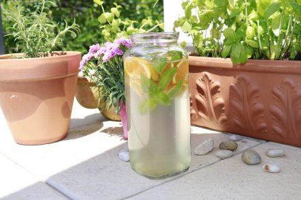 Wasser plus - eine kühle Erfrischung mit Orangen, Holundersirup und Basilikum.