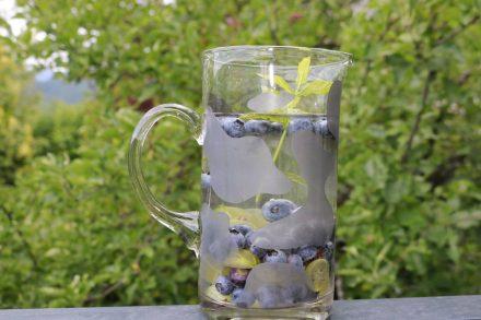 Wasser mit mehr Geschmack - Stachelbeeren, Heidelbeeren und Minze.