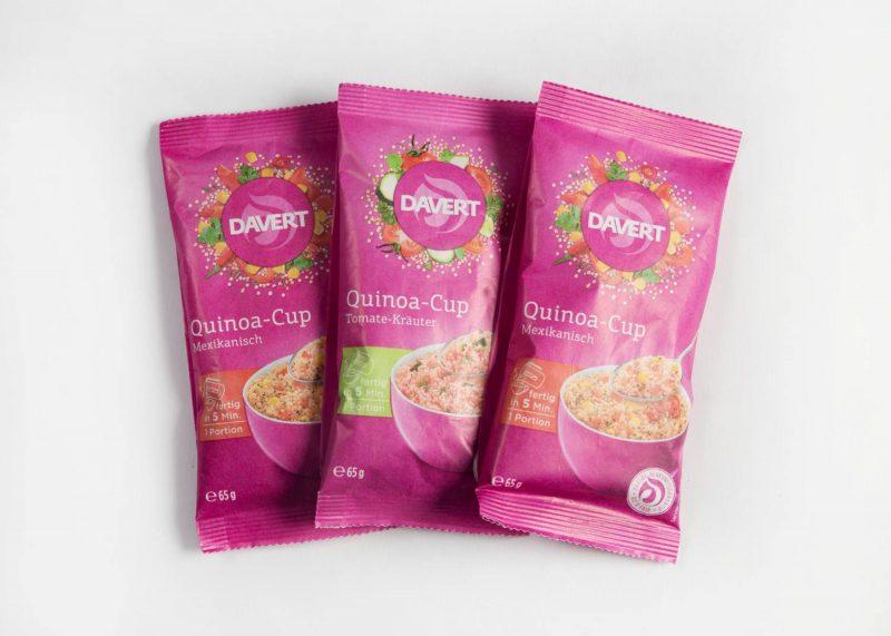 Ideal für unterwegs die schnellen Quinoa-Cups von Davert.