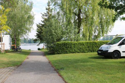 Schöne große Stellplätze, viele Bäume und direkter Seezugang am Camping Schwanenplatz.
