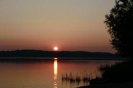 Die frühsommerliche Morgensonne über dem Waginger See.