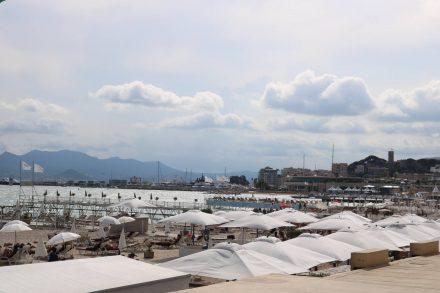 Die berühmte Croisette von Cannes führt direkt am Strand entlang.