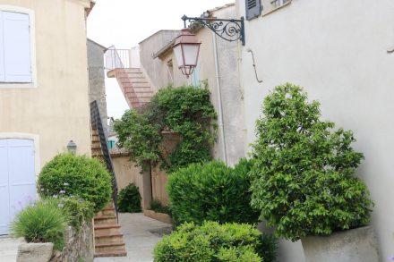 Alte Häuser, enge Gassen und jede Menge grüne Bepflanzung in Gassin.