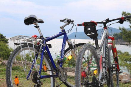 Wir und die zwei Drahtesel starten vom Kamp Mina in Jelsa zur Tour.