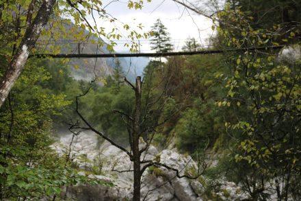 Diese Hängebrücke lässt tief blicken.