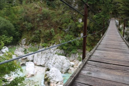 Zwischen Trenta und Soca ist wohl die höchste Hängebrücke.