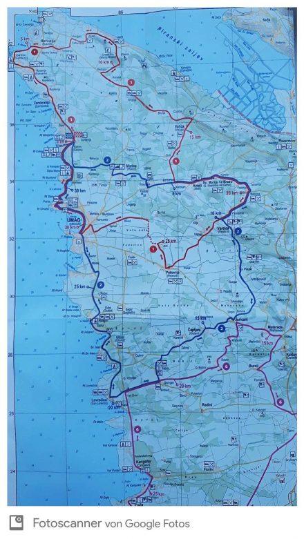 Die Biketour von Savudrija durchs Hinterland, wieder zurück an die Küste und über Umag nach Hause.