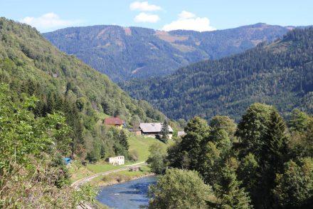 Zwischen Tamsweg und Murau verläuft der Radweg bergauf und bergab an der Mur entlang.