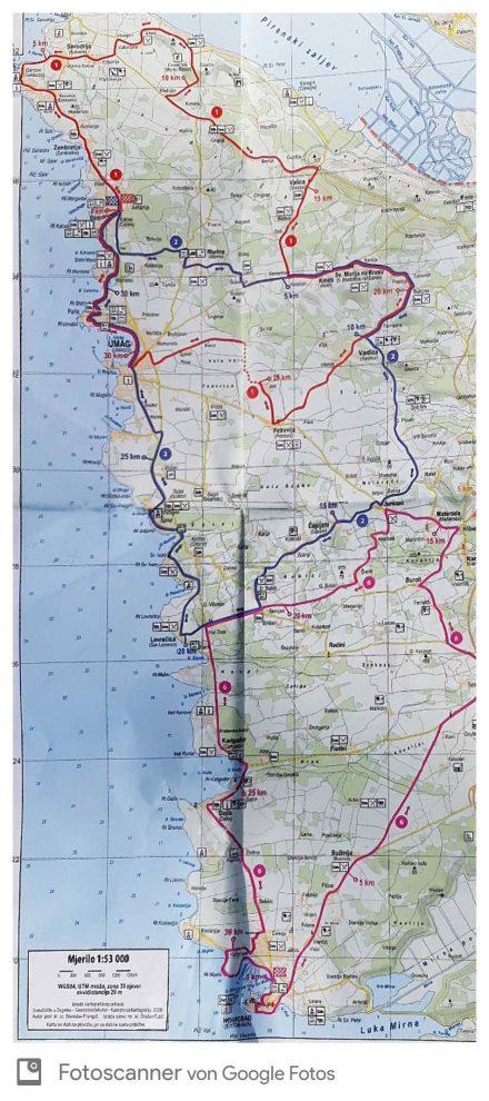 Die zweite Tour ging von Savudrija auf Route 1 bis Juricani, dann auf Route 6 weiter bis Novigrad und zurück.