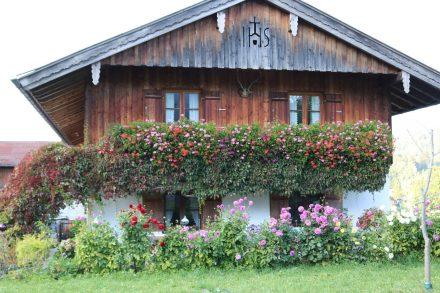 Blumenpracht am typisch bayerischen und gemütlichen Wohnhaus.