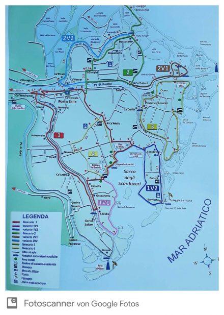 Die tolle Radkarte mit verschiedenen Touren.