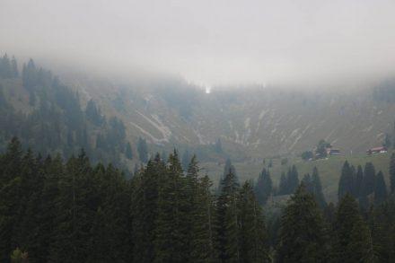 Blick zurück auf die Freudenreich Alm unter dichtem Nebel.
