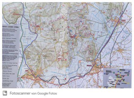 Die Rad- und Wanderkarte von der Region um Baone.