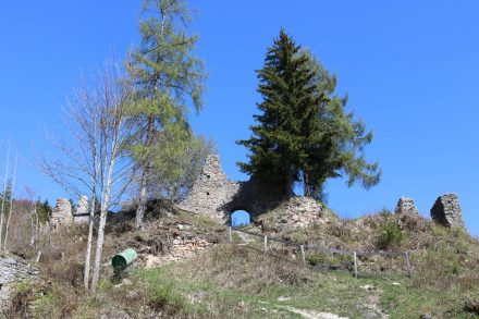 Das Burggebäude lag auf dem höchsten Plateau.