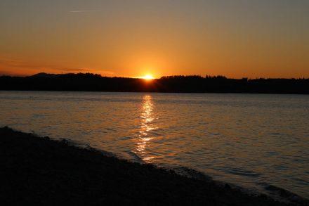 Wunderschön romantisch versinkt die Sonne hinter dem Wallersee im Salzburger Seenland.