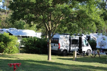 Der lauschige Stellplatz auf dem vier Sterne Campingplatz Zaton.