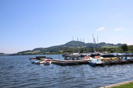 Die Segelboote und Tretboote im kleinen Hafen der Obertrumer Bucht.