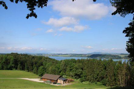 Wunderschöne Aussichten am höchsten Punkt der Seeleiten am Wallersee.