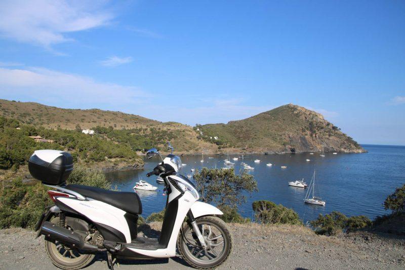 Unser Roller begleitet uns auch in die Bucht La Pelosa und genießt den Ausblick wie wir.