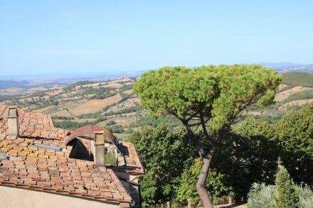 Blick über die Dächer von Manciano in die toskanische Hügellandschaft.