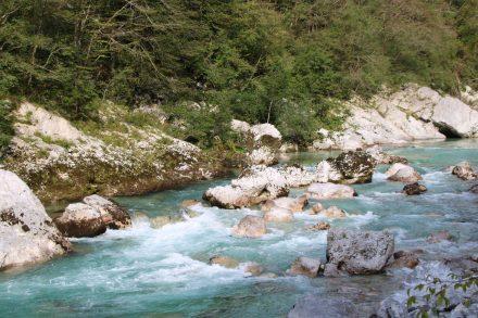 Die erste Etappe in der Lobarid-Schlucht führt immer am Wasser entlang.