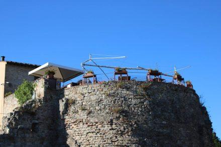 Das Restaurant auf dem Festungsturm von Colle val d'Elsa.