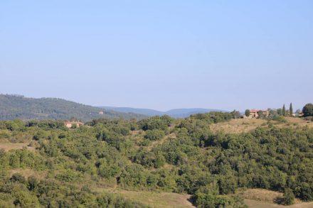 Blick von dem hübschen Bergdorf Pari in die toskanische Hügellandschaft.