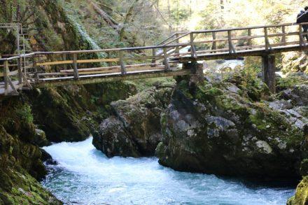 Wandern zur Vintgar Schlucht beim Bleder See in Slowenien