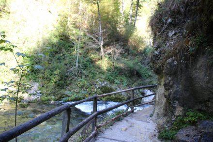 Schmal und direkt an den Felsen entlang führen die Holzstege und Pfade durch die Vintgar Schlucht.