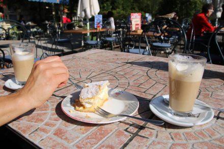 Die Belohnung nach der langen Wanderung durch die Vintgar Schlucht - eine Original Bleder Cremeschnitte.