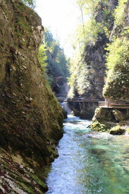 Der schmale Wandersteg durch die Vintgar Klamm führt zickzack am türkisfarbenen Wasser entlang.