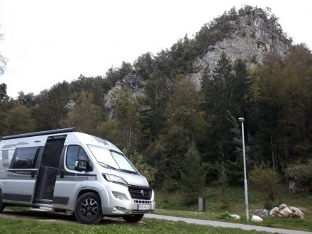 Unser Stellplatz auf dem Camping Bled.
