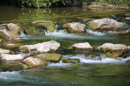Weiße Wasserkronen und viele Grüntöne an den Steinterrassen der Mangfall
