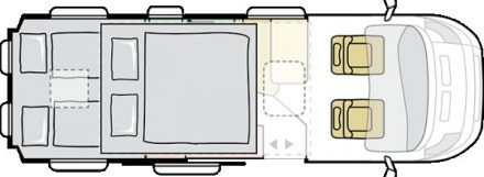 Zwei Schlafplätze im Heck und zwei Schlafplätze (120 cm breit) im Hochdach, Sitzbereich für vier, Küchenblock und Duplex-Bad.